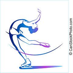 sport., skating., is, damer, figur, vinter, show.