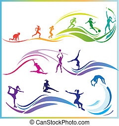 Sport skills - Vector illustration of woman silhouettes in ...