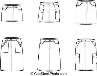 Sport skirt - Vector illustration of women's sport and jeans...