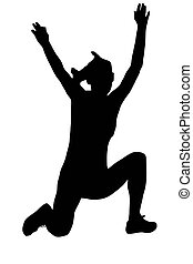 sport, -, skoczek, samica, długi, sylwetka
