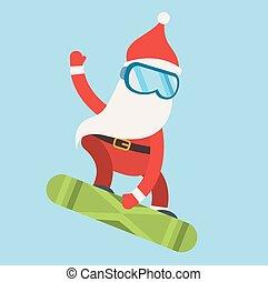 sport, snowboarder, hiver, illustration, santa, extrême, dessin animé