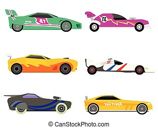 Sport speed automobile and offroad rally car colorful fast motor racing auto driver transport motorsport vector illustration.