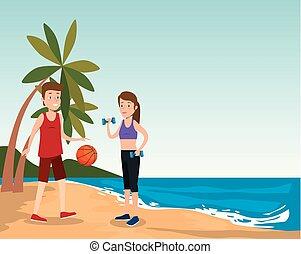 sport spiaggia, attivo, atleti, gruppo