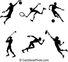 sport, spieler, silhouetten, a, satz, von, stilisiert, sport, spieler, silhouetten