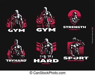 Sport. Sporty and athletic man. Muscular body. Set of Vector...