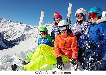 sport, stående, nöje, utrustning, lurar, grupp, skida