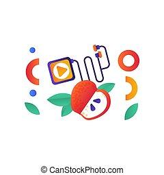 sport, stile di vita, sano, media, mela, illustrazione, simboli, giocatore, vettore, idoneità, fondo, bianco rosso