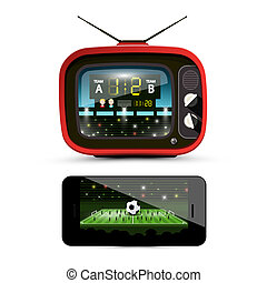 Sport Streaming on Television. Footbal Match on Retro TV. Soccer Ball on Stadium - Smartphone Screen. Vector Devices Isolated on White Background.