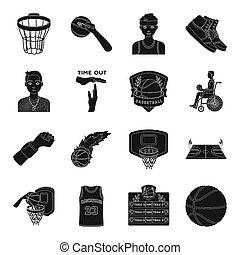 sport, style, basket-ball, icônes, symbole, jeu, web., collection, bitmap, ensemble, noir, illustration, fitness, raster, balle, autre, basketball., stockage