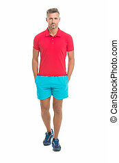 Sport style. Menswear and fashionable clothing. Man calm face posing confidently white background. Man looks handsome in shirt and shorts. Guy sport outfit. Fashion concept. Man model clothes shop