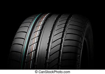 sport summer tire - close up of new sport summer tire, over...