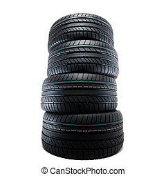 sport summer tires, isolated - new sport summer tires ...