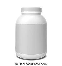 Sport supplement jar. 3d illustration isolated on white...