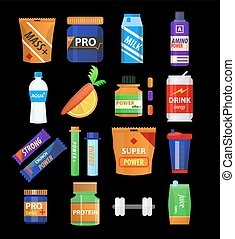 Sport supplements and fitness nutrition vector flat icons