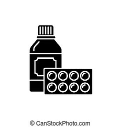 Sport supplements black icon, vector sign on isolated...