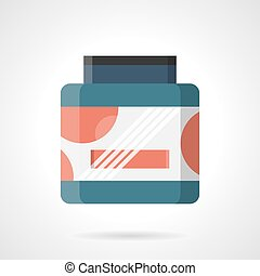 Sport supplements container flat color vector icon - Symbol...