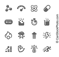 Icon set related to sport supplements effects.