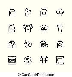 Sport supplements related vector icon set in thin line style