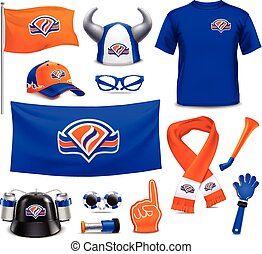 Sport Supporters Fans Accessories Realistic Set - National...