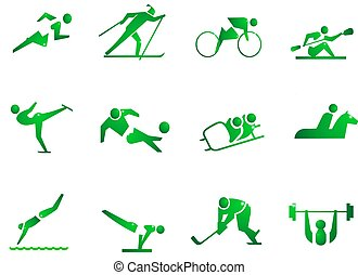 SPORT SYMBOL - 12 icons about sports. Running, skiing, ...