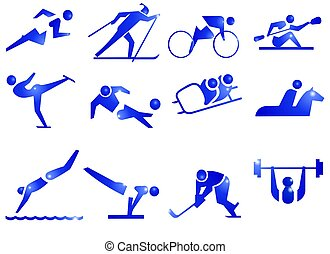 12 icons about sports. Running, skiing, kayaking, canoing, skating, soccer, football, skidding, horse-riding, swimming, gymnastics, hockey, weight lifting.