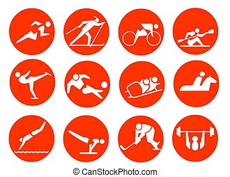 SPORT SYMBOL - 12 icons about sports. Running, skiing,...