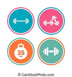 sport, symbols., dumbbells, icons., stosowność