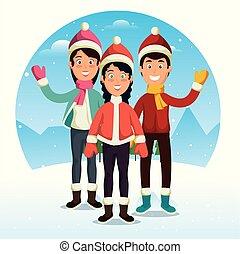 sport, tél, emberek, karikatúra, boldog