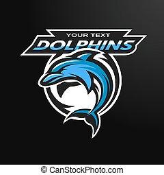 sport, team., emblème dauphin, logo