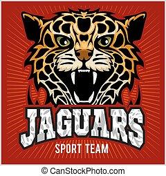 Sport team - Jaguar, wild cat Panther. Vector illustration, red background, shadow.