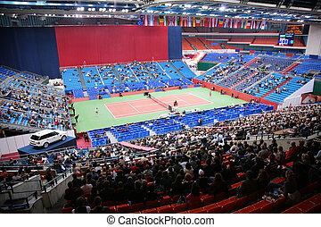 sport, tennis, arena, mit, öffentlichkeit