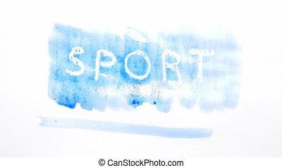 sport text inscription watercolor artist paints blot...
