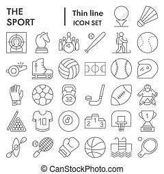 Sport thin line icon set, game symbols collection, vector sketches, logo illustrations, entertainment signs linear pictograms package isolated on white background, eps 10.
