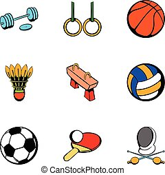 Sport things icons set, cartoon style