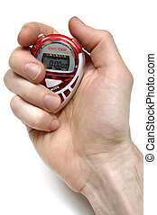 Sport Timer Stop watch in a hand Isolated on white...