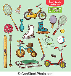 sport toys set illustration: skating, skiing ball bike and...