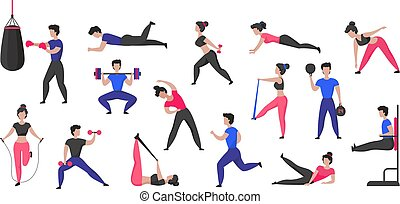 Sport training. Cartoon male and female characters doing sport exercises and healthy activities. Vector fitness and workout set