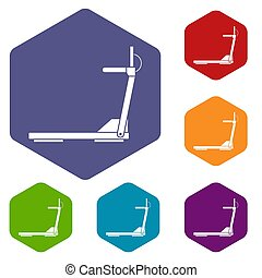 sport treadmill running road equipment icons set