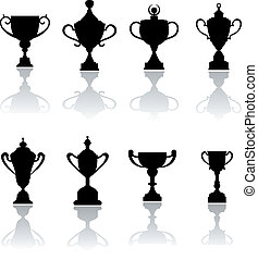 Sport trophies, awards and cups set isolated on white for ...
