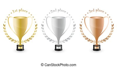 Sport trophies for the first place, second place and third place with laurel wreath and stars. Gold, silver and bronze trophy. Vector design.