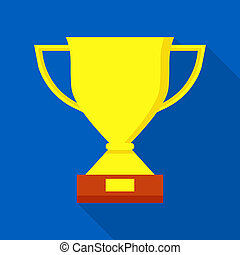 Sport trophy icon, flat style