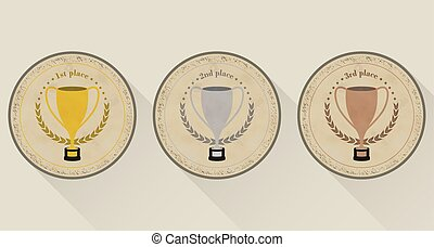 Sport trophy vector icons in retro style for the first place, second place and third place with laurel wreath and stars. Gold, silver and bronze.