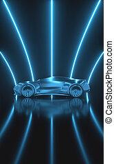 sport, tunnel, prototyp, auto, begriff, aerodynamisch