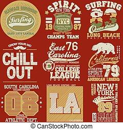 Sport Typography Graphics emblem set, T-shirt Printing Design. Athletic original wear, Vintage Print for sportswear apparel