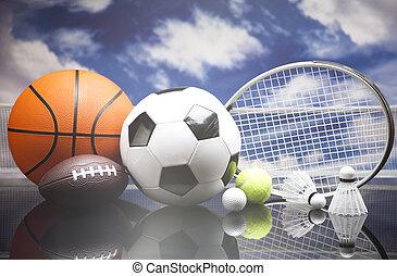 sport, udrustning, og, kugler