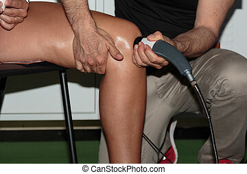 sport:, ultrasound, fysiotherapie, therapie, behandeling, professioneel, knie, rehabilitatie