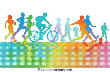 sport, und, übung