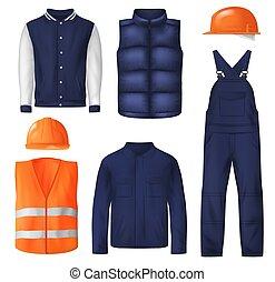 sport, uomini, vestiti, indossare, lavoro