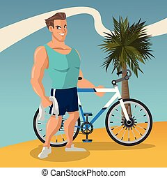 sport, vélo, homme