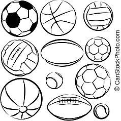 sport, -, vecteur, ensemble, balles